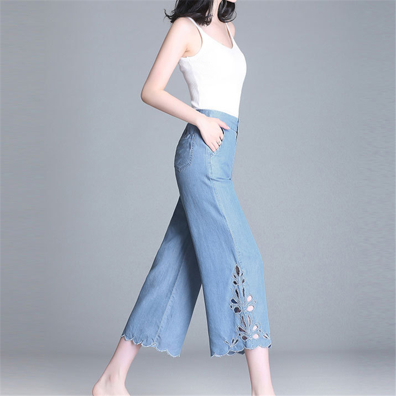 Summer Women Jeans 2019 New Loose Korean Thin section Straight ice silkHhigh waist students nine points   wide     leg     Pants   C252