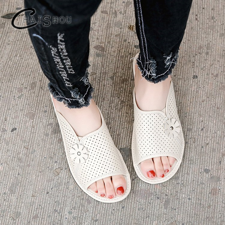 2018 New Summer Non-slip casual mesh PU Shoes Wedges flats Woman Outdoor Beach Slippers Sandals flop flips sapato feminino women new 2018 shoes woman sandals wedges lovely jelly shoes solid casual slippers summer style fashion slides flats free shipping