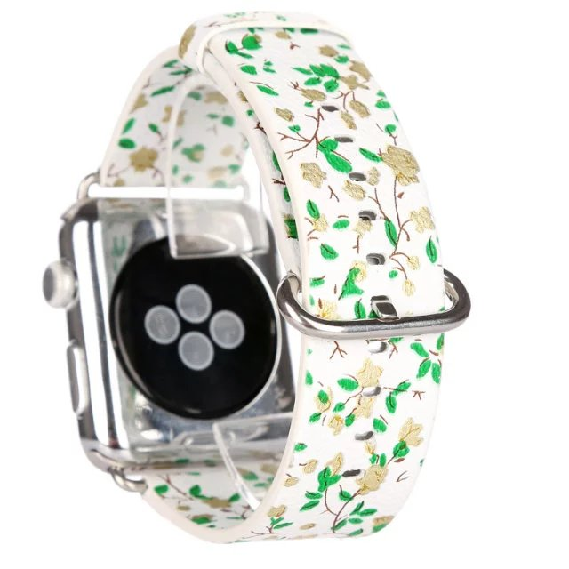 The new leather Flower patterns Fashion full grain leather Watchband Classic Buckle Strap for Apple Watchband