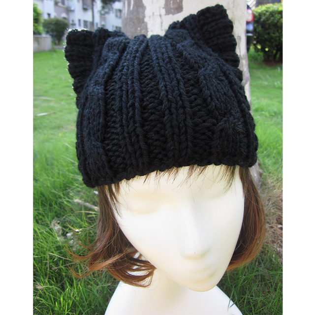 A004 Cute Cat Ear Meow Kitty Woman Wool Hand Knit Cap Beanie funny winter hats for women Girl hats