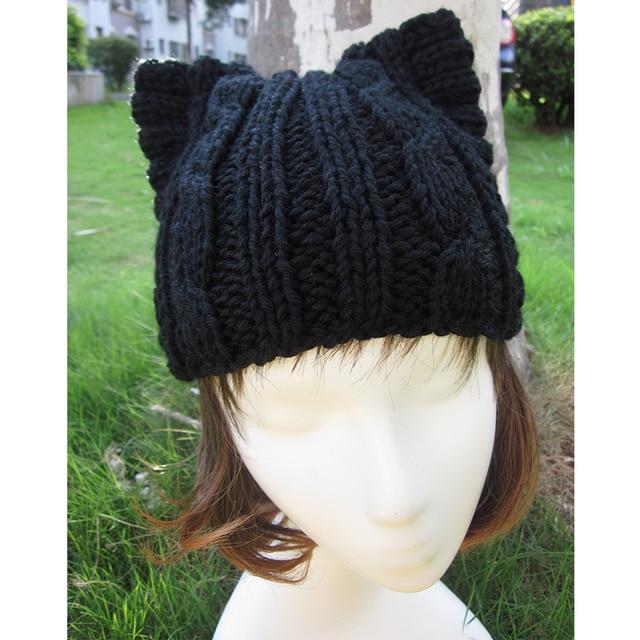 A004 Cute Cat Ear Meow Kitty Woman Wool Hand Knit Cap Beanie funny winter hats for women Girl hats