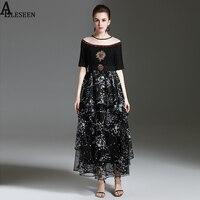 Retro Lưới Váy 2017 Mùa Hè Ngắn Tay Áo Front Sheer Tương Phản Đường Viền Cổ Pha Lê Beading Thêu Black Midi Dress