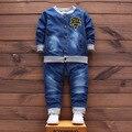 Primavera bebê define casaco de manga comprida + calças crianças terno de brim letra dos desenhos animados meninos e meninas de jeans de lavagem de areia terno