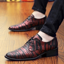 Party Men's Casual Shoes Colorful Pointed Lace Up Dress Shoes For Wedding