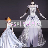Princess Cinderella Dress Adult Halloween Costumes for Women Cosplay Deluxe Party Silver Ball Gowns Plus Size Custom