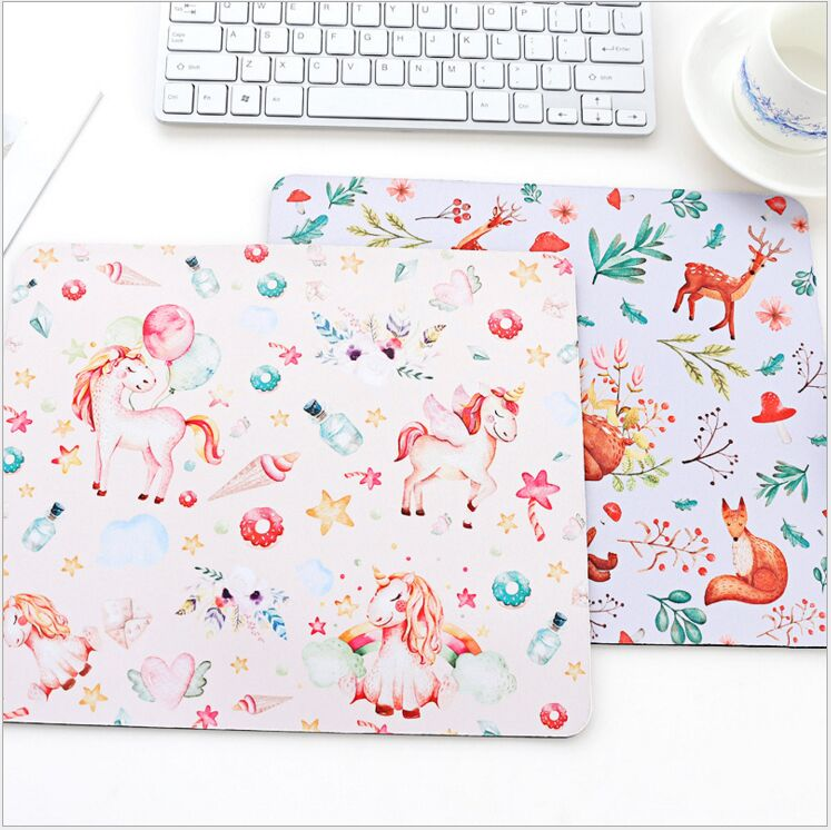 Fresh plant unicorn forest elk feathers square mouse pad Rubber antiskid mouse mat DIY Planner Learning tool Stationery Holder