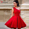 Sexy Charming Cheap Elegant Red One Shoulder Cocktail Dresses Lace Satin Short Party Women Gown  2016