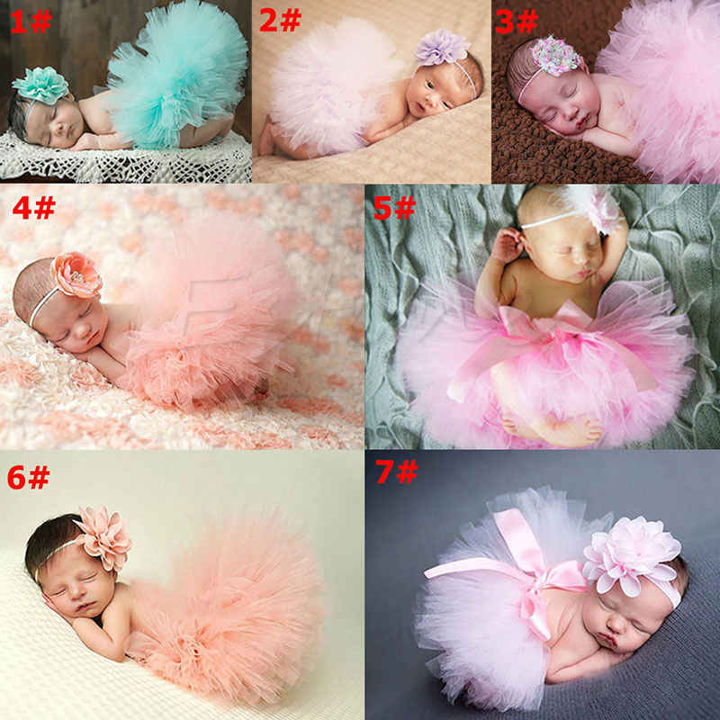 Sevimli yürümeye başlayan yenidoğan bebek kız Tutu etek ve kafa fotoğraf Prop kostüm kıyafet-P101