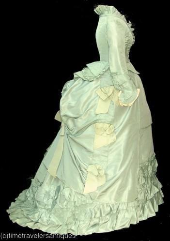 Seafoam green bustle 1880s Victorian dress satin dress