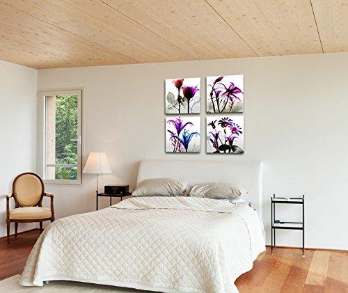 4 stücke Flicking Blumen Bilder Fotodruck auf Leinwand Modulare - Wohnkultur - Foto 3