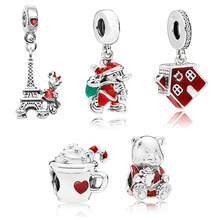 Boosbiy 2pc High Quality Silver Plated Mickey Charm Beads DIY European Style Fit Original Pandora Bracelets Jewelry Gift
