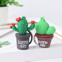 Creative simulation mini plant potted Keychain cactus resin Keyrings, Car Bag accessories Men Or Women Key Ring Girl Keychain(China)