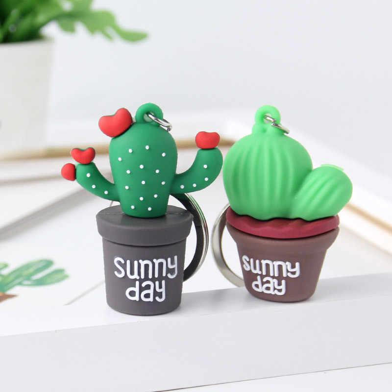 Mini planta de simulación creativa llavero en maceta de resina de cactus llaveros, accesorios de bolso de coche hombres o mujeres llavero de chica