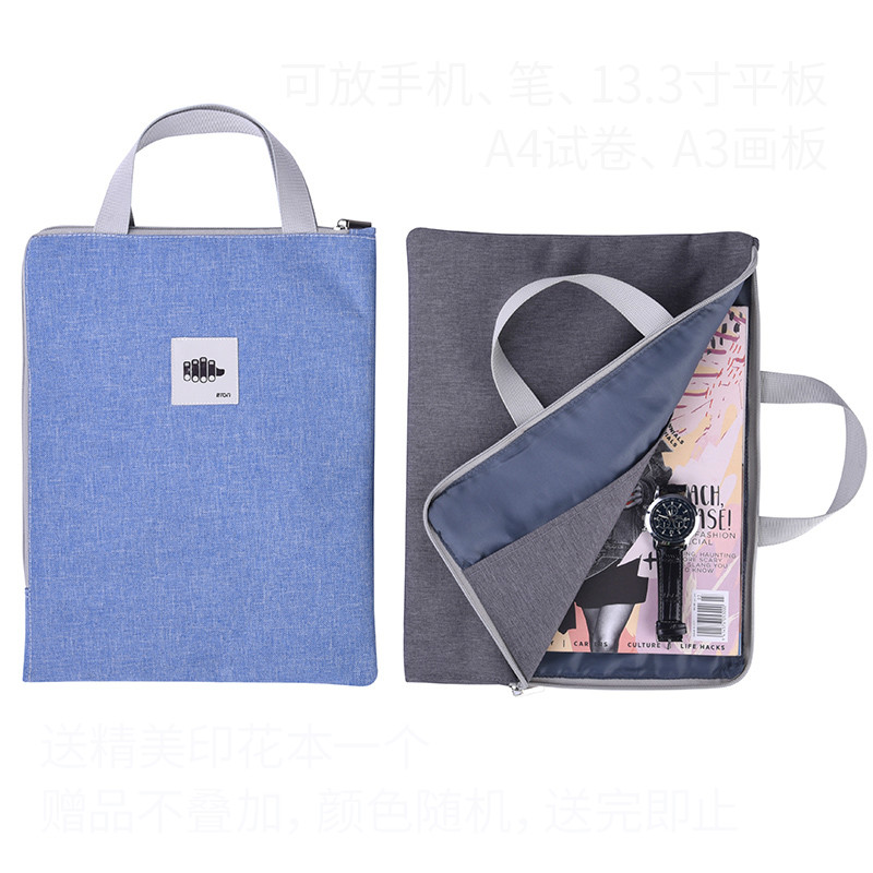 A4/A3 Document Bag Canvas Students Use Zipper Waterproof Large Capacity Handbag Thicken 8K Art Picture Book Bag Multifunction