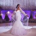 Vestido De Novia Sereia Vestidos de Casamento Tribunal Trem Manga Comprida Barato Personalizado Noivas Vestido Longo Lace vestido de Noiva BE1415