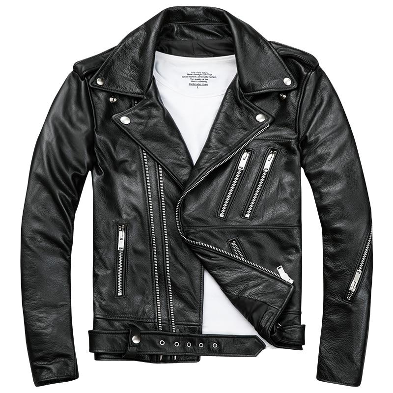 2019 Noir Hommes veste en cuir de Motard Double Diagonal Zipper Véritable Vachette Épaisse Slim Fit Court manteau de moto LIVRAISON GRATUITE