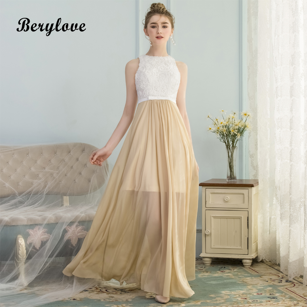 Berylove Long Champagne Lace Prom Dresses 2018 Prom Gowns Special