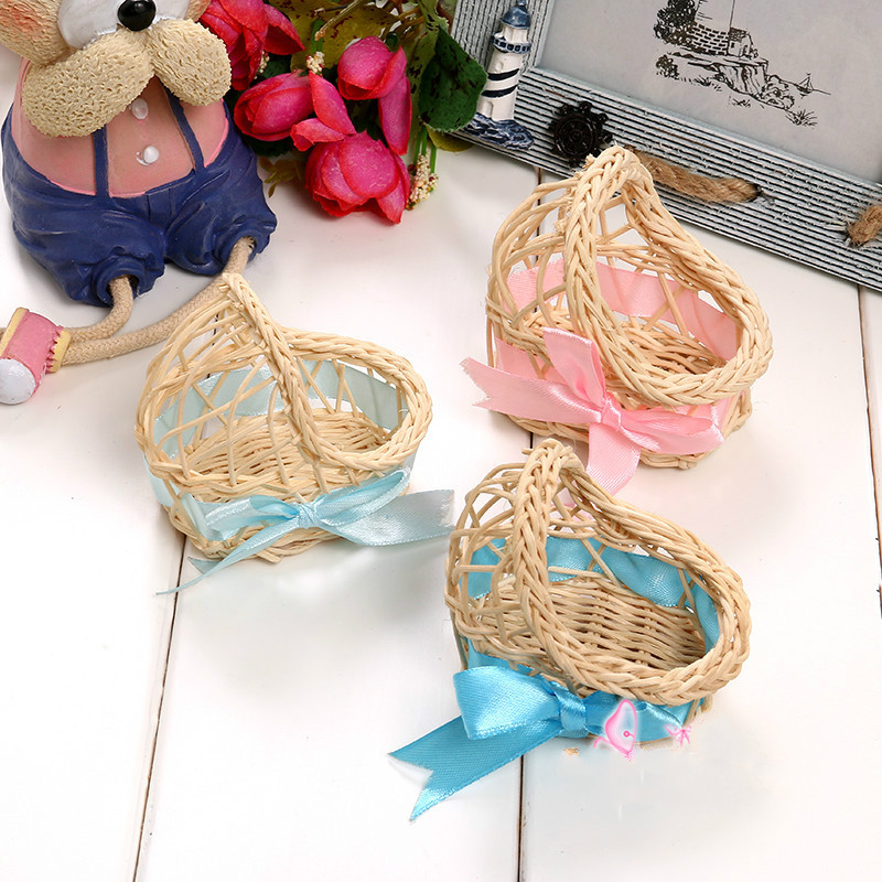 Mini Rattan Baby Cradle Candy Box Gifts For Guests Party Favor Boxes Baby Souvenirs Gender Reveal Baby Shower DIY Decorations