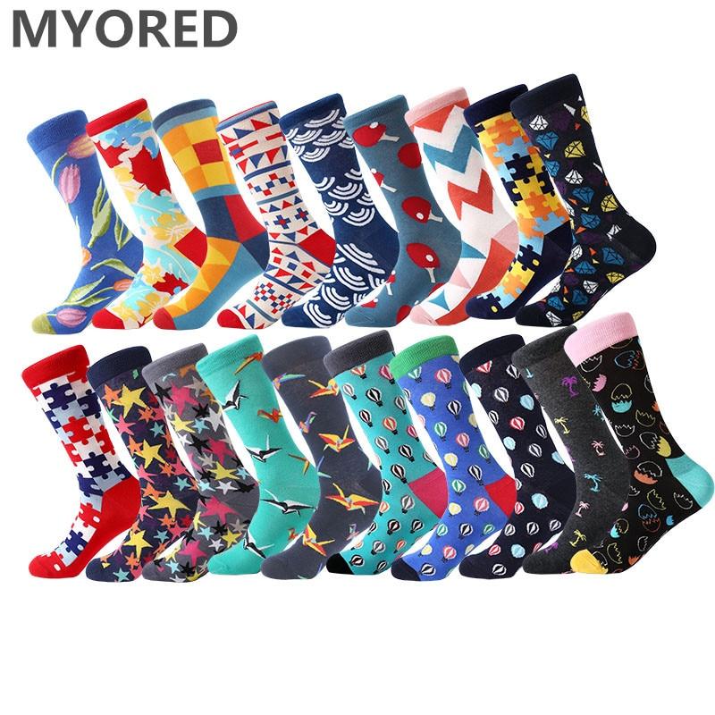 MYORED 1 pair men socks combed cotton bright colored funny socks men's calf crew socks for business causal dress wedding gift