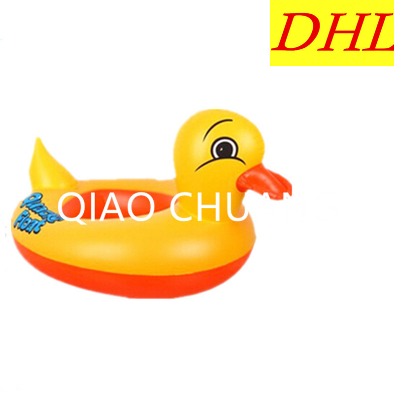 Wholesale 100pcs/lot Inflatable Children Yellow Duck Swimming Ring PVC Thicken Play With Water Toy G1351
