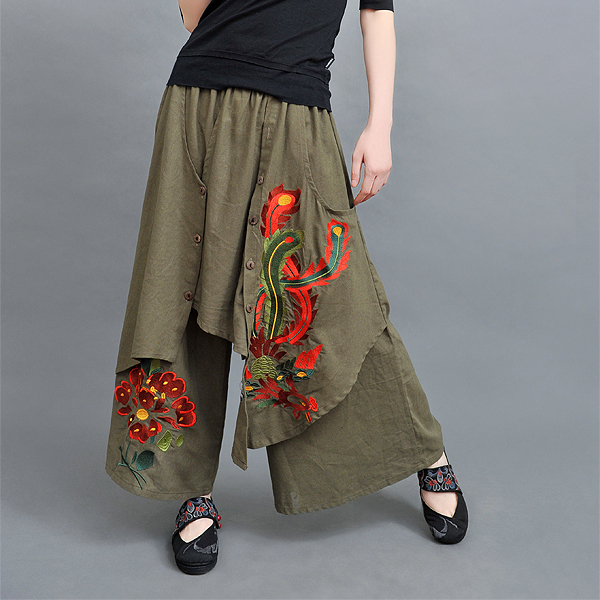 Hot Sale Vintage 70s Ethnic   Wide     Leg     Pant   Women Autumn Spring Chinese Style Green Black Red Trousers Free Shipping