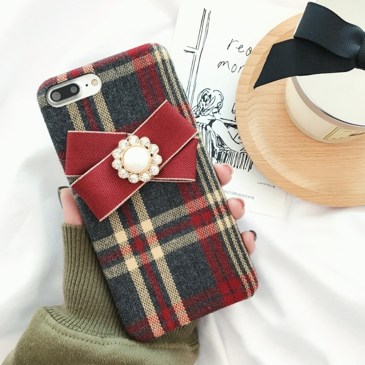 IMIDO Fashion women Winter British Check Cloth Phone cases with Bowknot For iphone 7 8 4.7 inch case Fundas for iphone7 capa ...