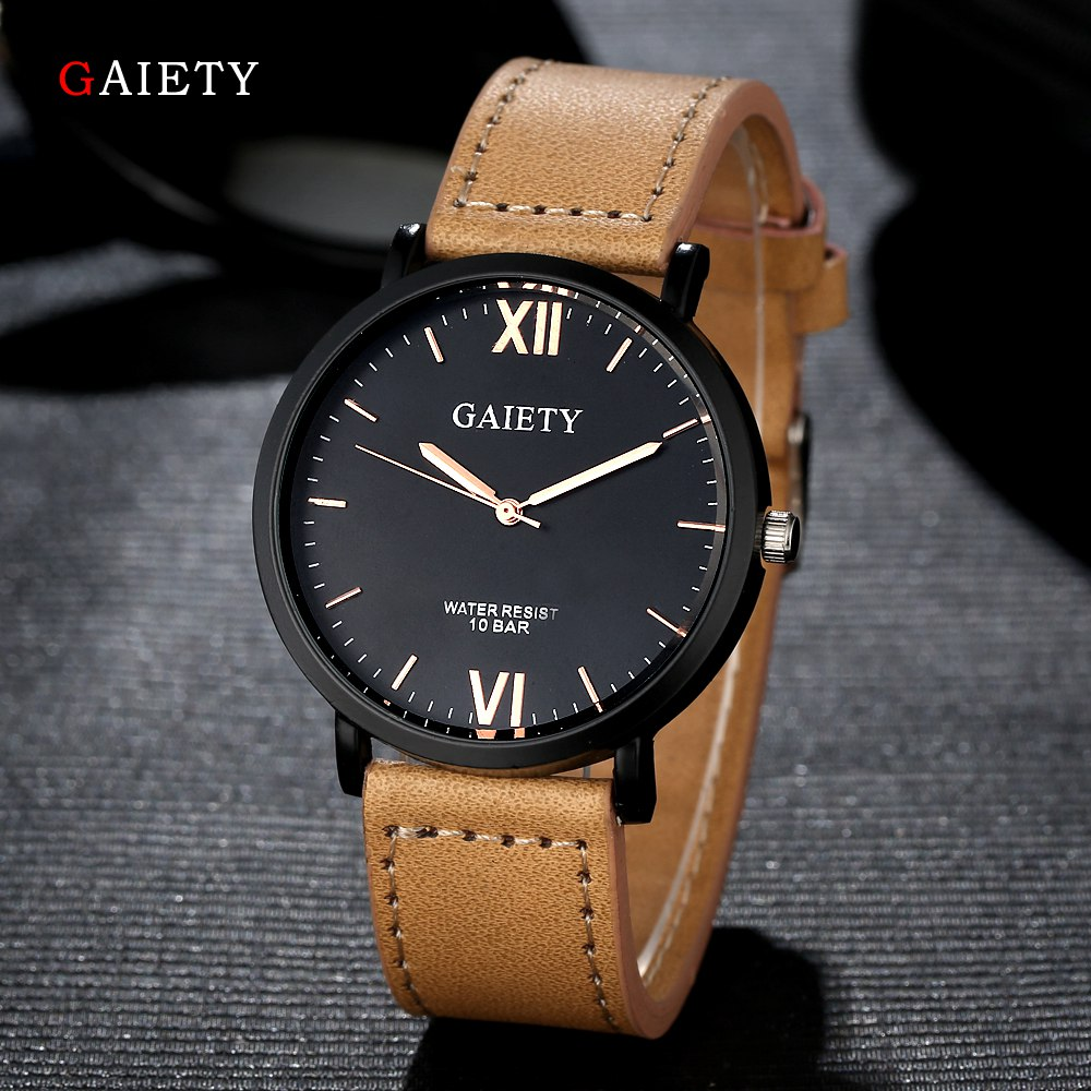 2017 Fashion GAIETY Men Watches Top Brand Luxury Casual Leather Sport Watch Wo,em Business Simple Black Dial Quartz Wrist Watch disu top brand 2017 men watches fashion simple quartz wrist watch business leather strap male sport rose gold dial clock ds039