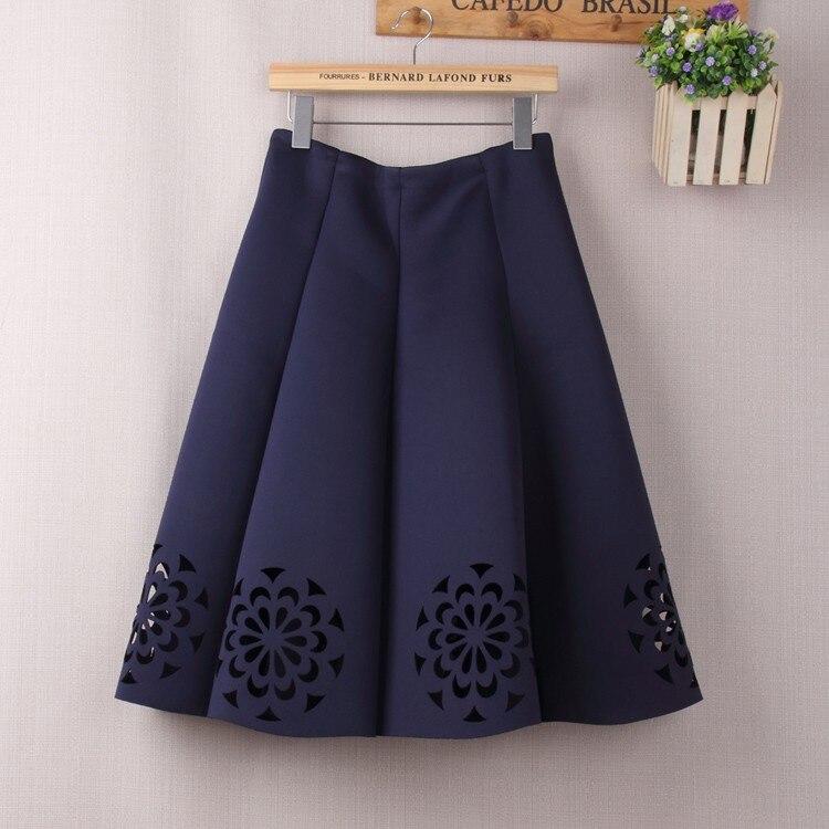 Elegant Vintage Floral Crochet High Waist A-Line Zipper Midi Skirt 5