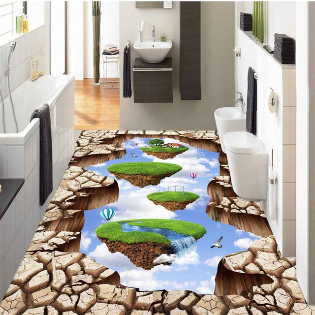 beibehang Custom photo floor painting to paste the sky city 3D