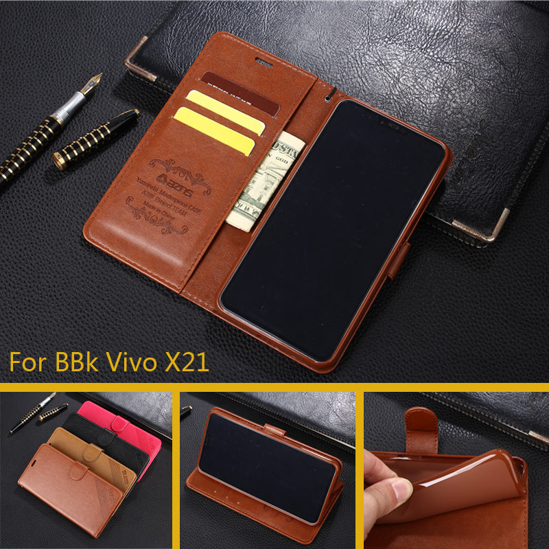 Case For vivo x21 Luxury Wallet PU Leather Cases Stand Flip Card Hold Phone Cover Bags For BBK Vivo X21
