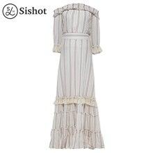 Фотография Sishot women bohemia dresses 2017 autumn pink stripes cotton flare sleeve slash neck backless falbala color block boho dress