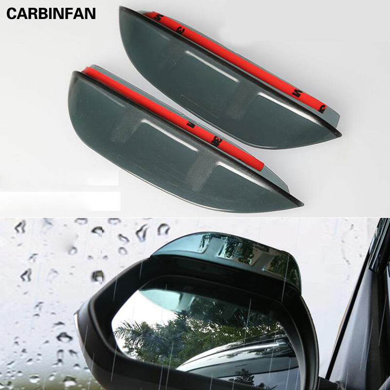 Side Door Rearview Mirror Sun Rain Guard Shield Deflector Visor ABS Plastic 2PCS//SET
