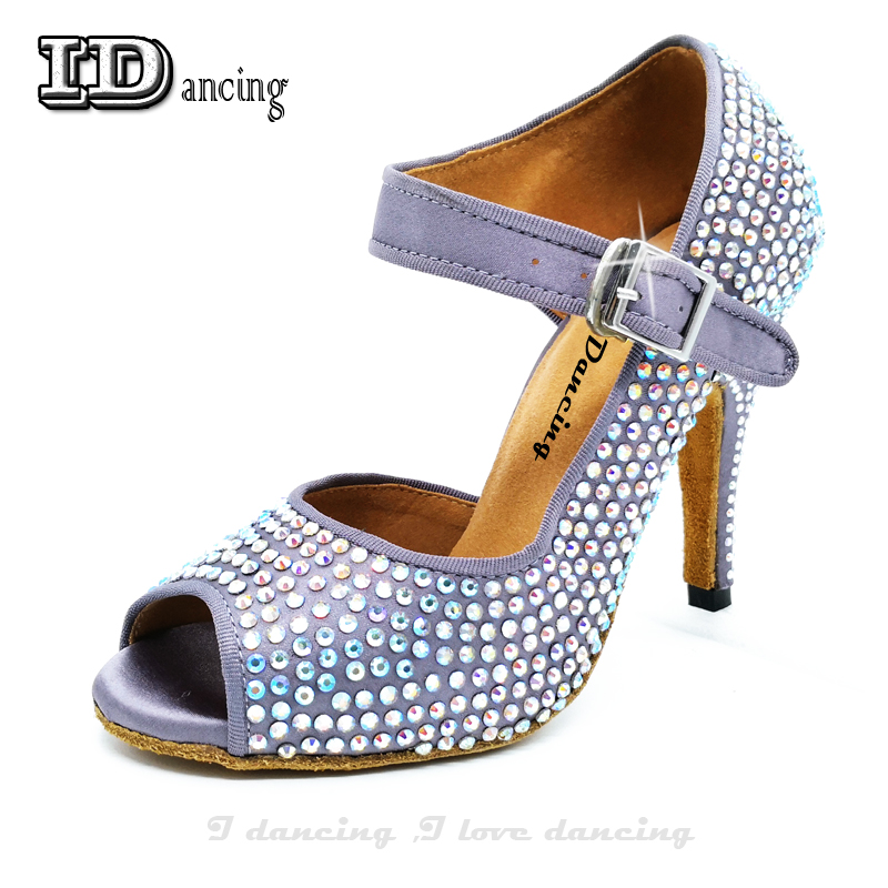 Dance Heels Ballroom Shoes Girls Rhinestone Latin Dance Shoes Purple Sneakers Ladies  Square ChaCha Party Shoes IDancing