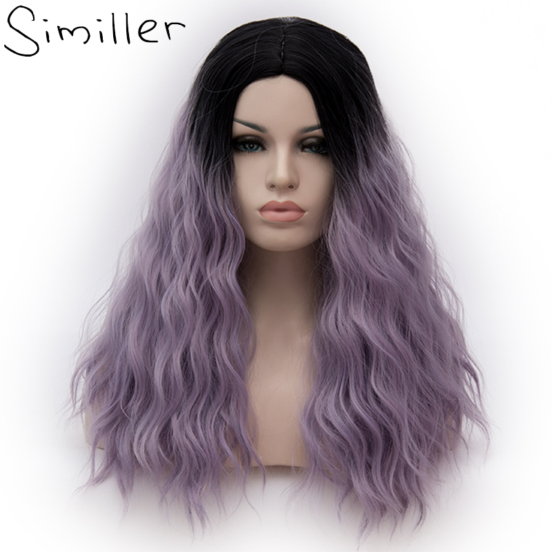 Similler Women Long Kinky Curly Cosplay Synthetic Wigs Heat Resistant Fiber Dark Root Purple Ombre Hair For Halloween