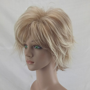 Image 3 - HAIRJOY White Women Synthetic Hair Wigs Blonde Short Curly Wig Heat Resistant  Hairstyle 2 Colors Available Free Shipping