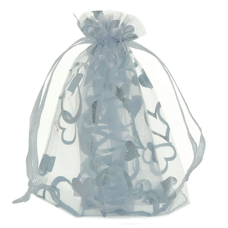 25-100PCs White Heart Organza Bags Charm Jewelry Bags Wedding  XMAS Party Favor Gift Pouches For Love Gift Jewelry 7cmx9cm