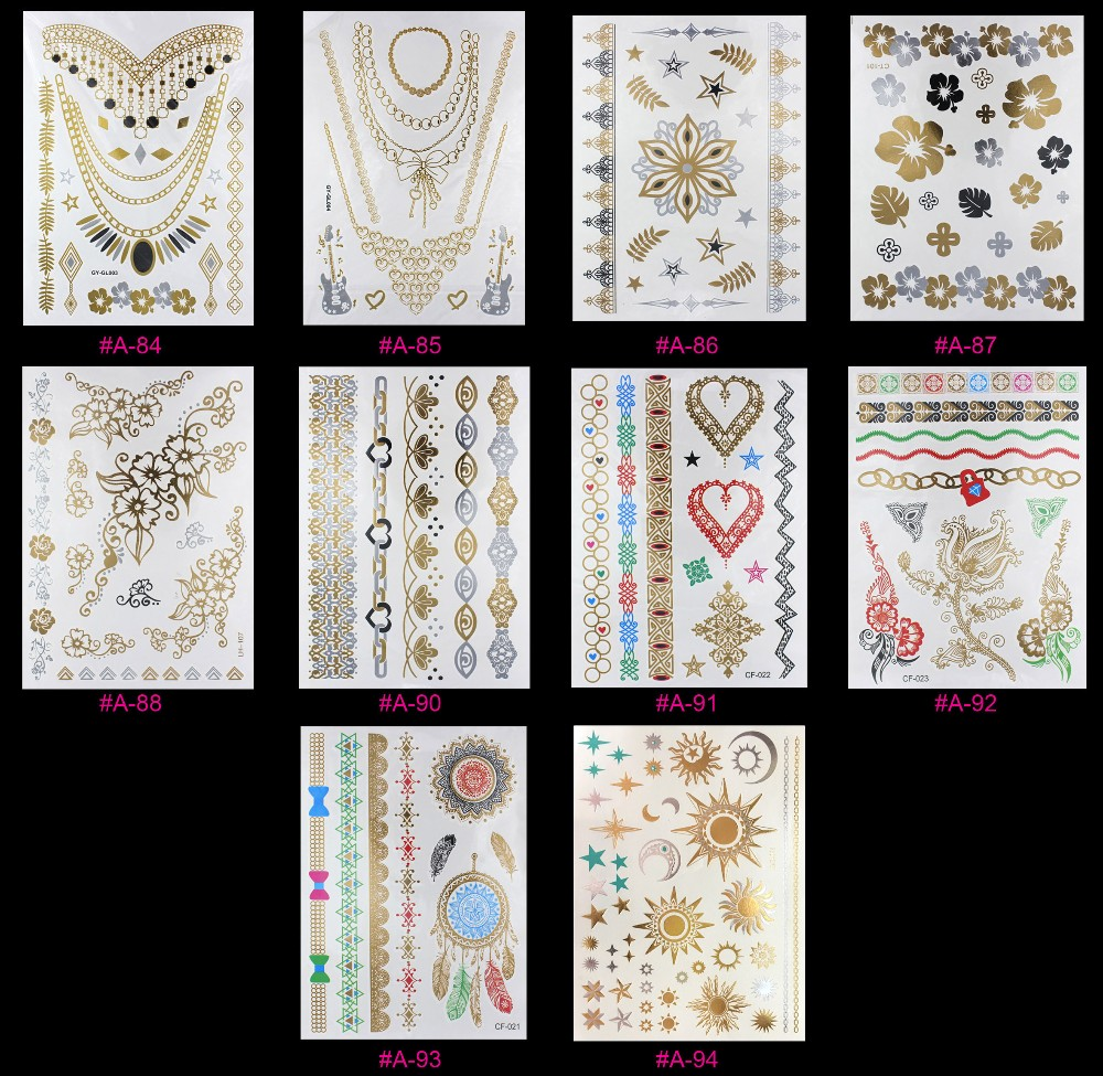 New Design Flash Removable Waterproof Gold Tattoos Metallic Temporary Tattoo Stickers Temporary Body Art Tattoo 17