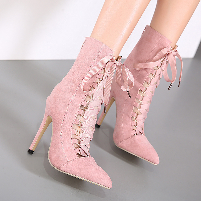 sexy Cross-tied ankle boots women pointed toe high heels summer boots lace up back zipper Nightclub female shoes thin heel boots купить