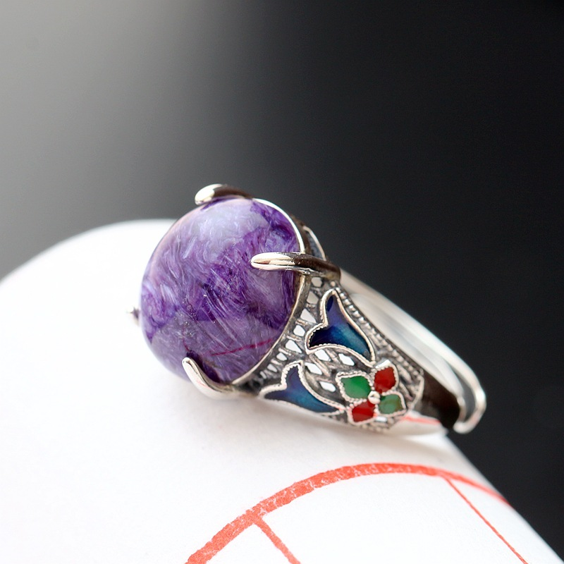 цена Ecoworld Ge silver wholesale 925 sterling silver inlaid natural crystal female ring opening Vintage Silver Purple ring