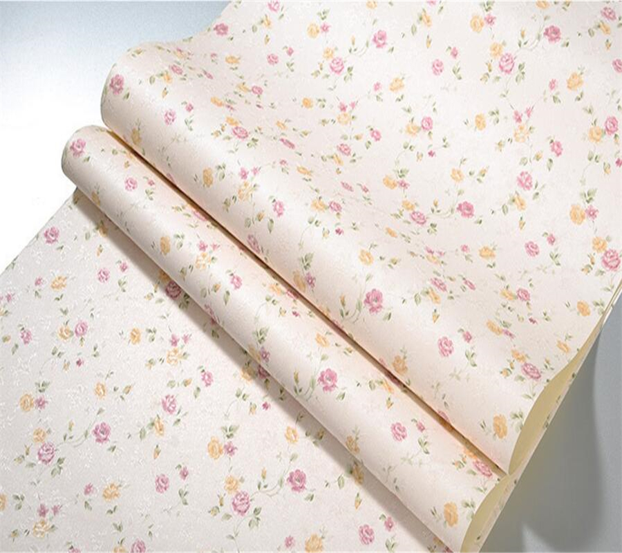 Beibehang Pastoral retro small floral thickened wallpaper living room TV background walls bedroom bedside green 3d wallpaper beibehang warm 3d small leaf pink shallow green 3d wallpaper bedroom living room hotel corridor background 10 m wallpaper roll