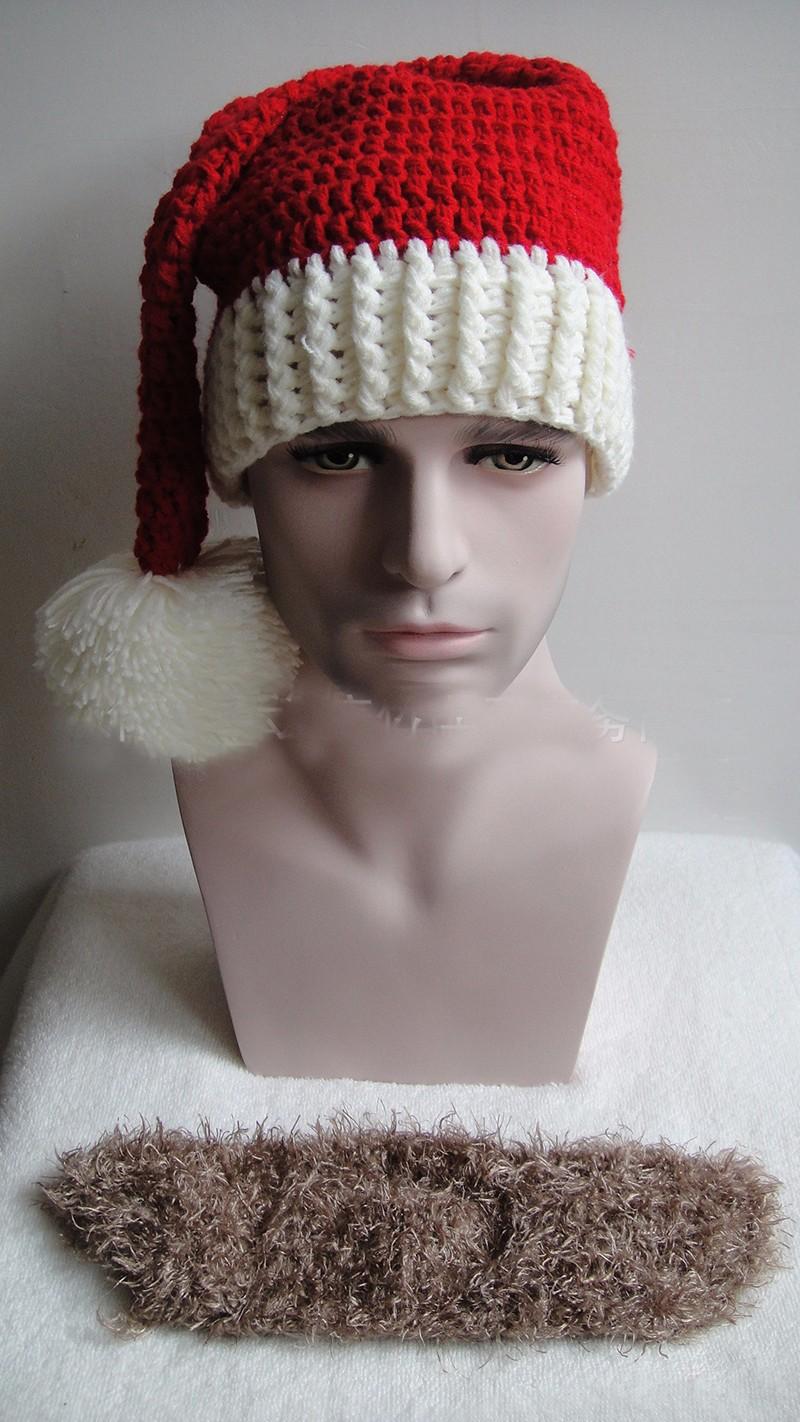 2016 Adult Crochet Knit Beanie Santa Claus Handmade Knitted Hat Hot Fashion Bearded Cap Women Men Christmas Gifts Accessories (7)