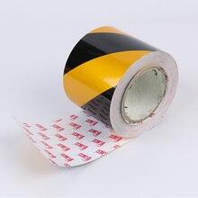 10 см * 40 м желтая Черная защитная отметка светоотражающая