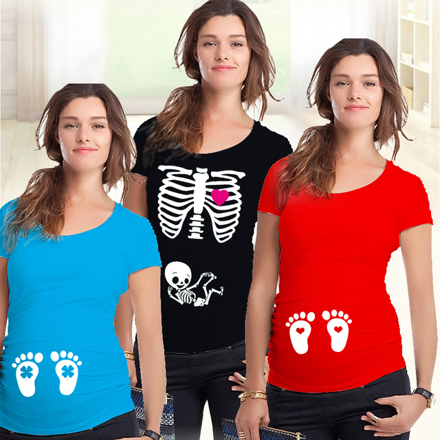 09bb3adae Maternidad embarazada camisetas Shorts Casual embarazo ropa para mujeres  embarazadas ropa Gravida algodón Vestidos verano 2018