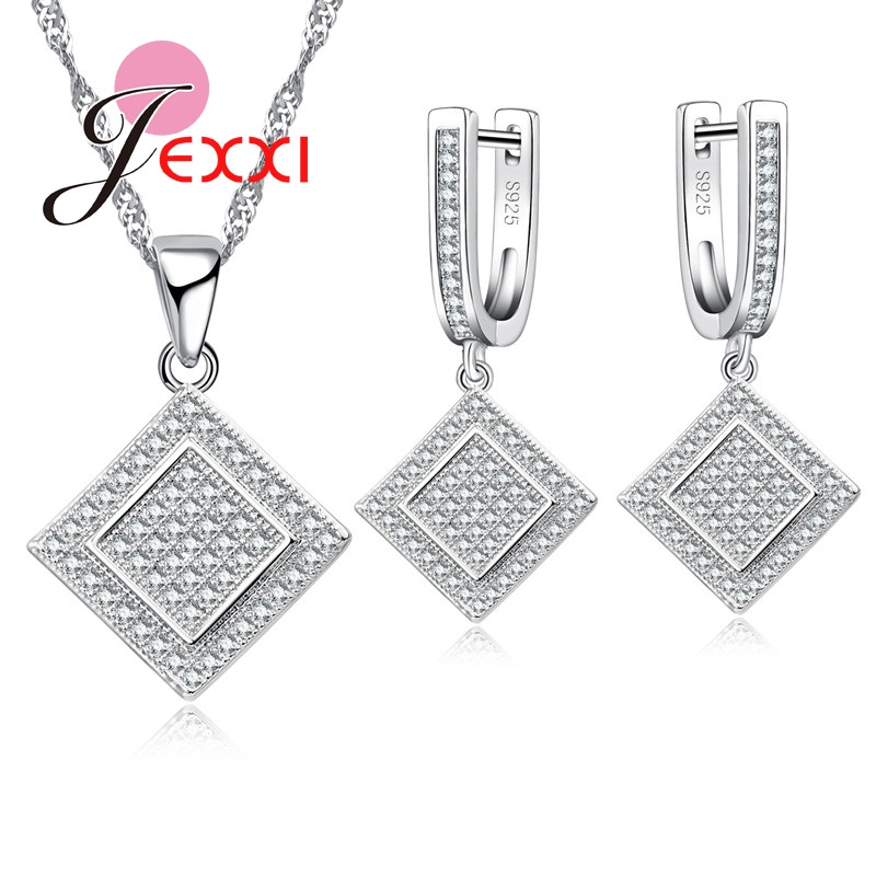 Earrings-Set 925-Sterling-Silver Necklace Geometric Cubic-Zircon Fashion Women Square
