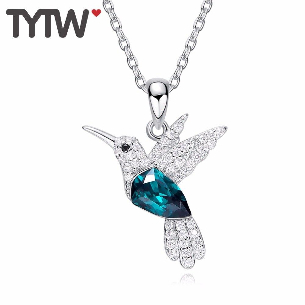 TYTW Crystals From Austrian S925 Sterling Silver flower crystal statement necklace Bird Green Rhinestone Women Pendant