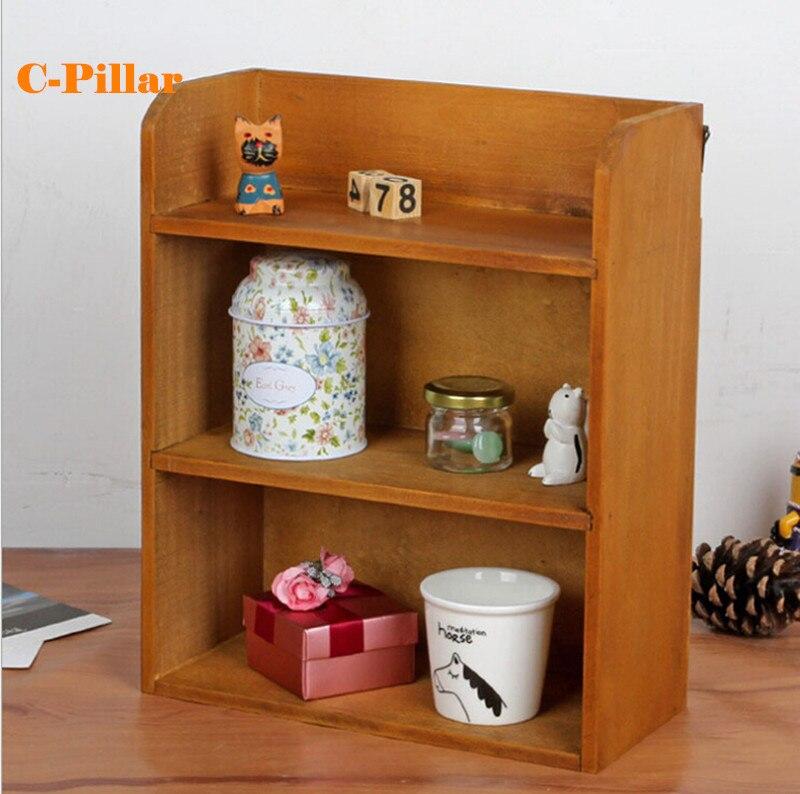 Mini Antique Wood Toy Storage Shelf Retro Standing Hanging