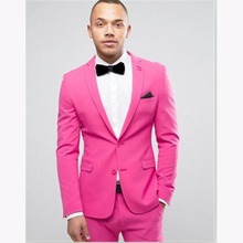 Terno slim fit pink mens jacket Suits Groom Tuxedos costume homme 2017 Party Dinner suit wedding suits for men (Jacket+Pants)