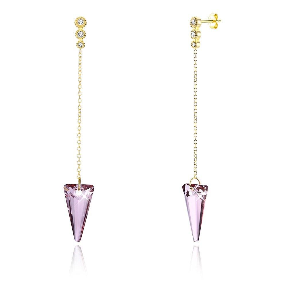 UFOORO élément Swarovski rose/noir/bleu/cristal clair S925 boucles d'oreilles en argent Sterling mode boucle d'oreille pour femme bijoux