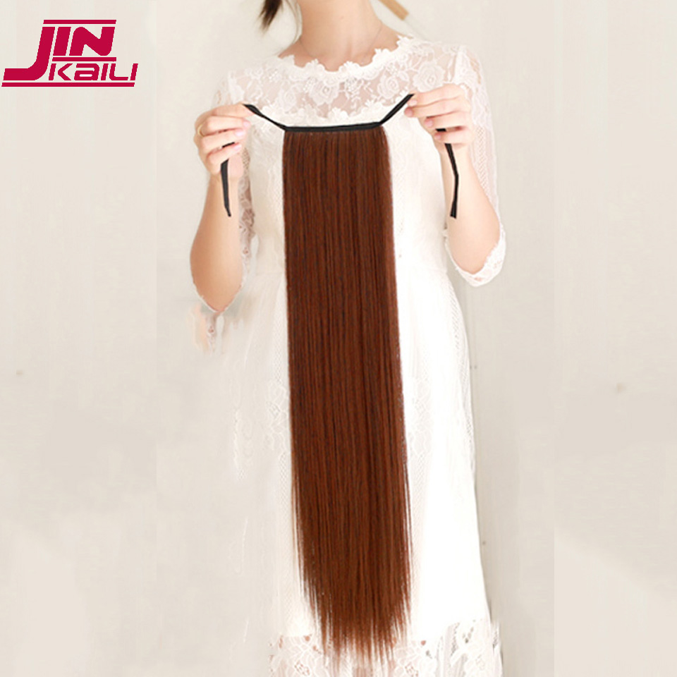 "JINKAILI  85cm 32"" Super Long Straight Clip In Tail False Hair Ponytail Hairpiece With Hairpins Synthetic Pony Tail Extensions 4"
