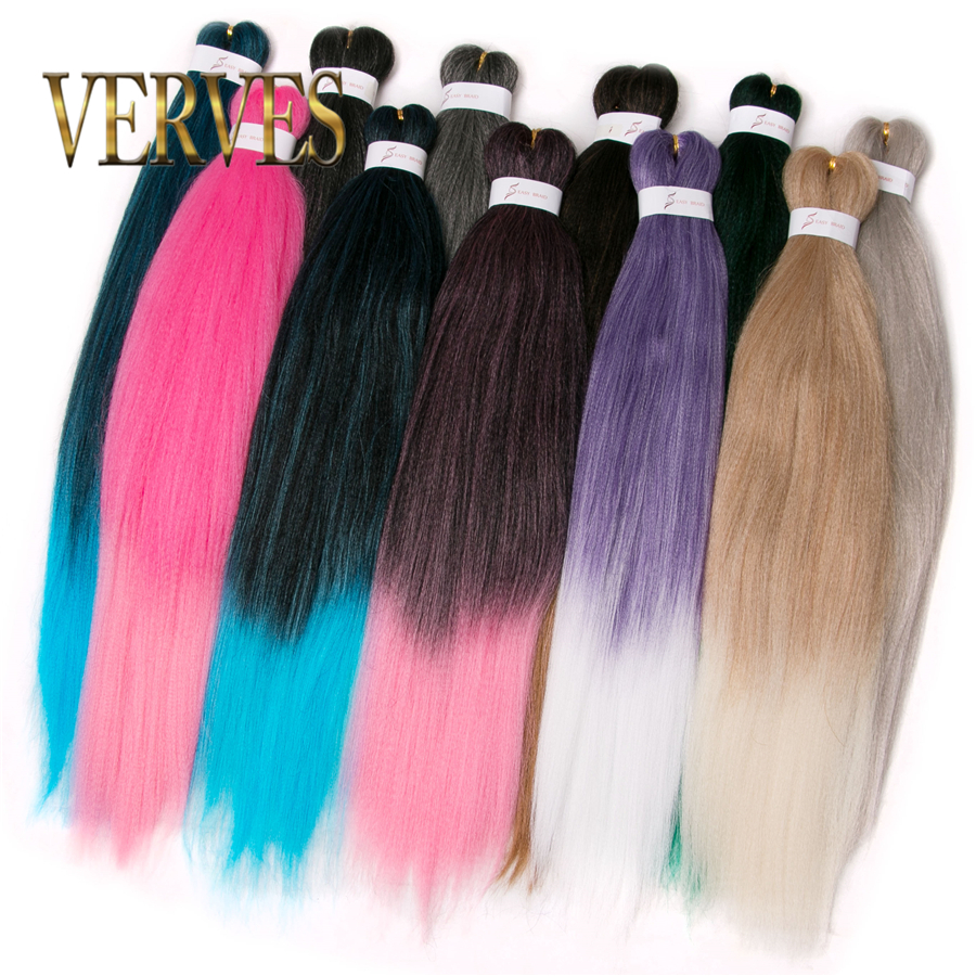 VERVES Ombre Braiding Hair 100g/piece 26 Inch 1 Piece Synthetic Two Tone Fiber Crochet Jumbo Braid Hair Extension Pink Grey